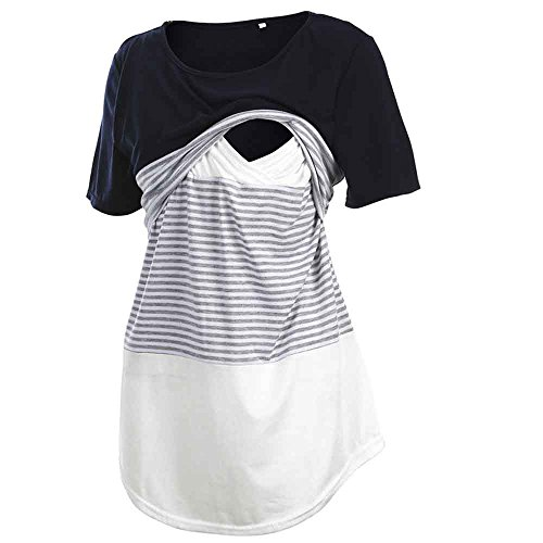 Fashion Women Short Sleeve Double Layer Maternity Nursing Tops Shirts for Breastfeeding (L, Stripe-Navy ()