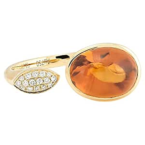 365Love Women's 18K Solid Yellow Gold Citrine and Diamond Ring - 13 US