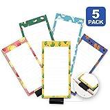 5 Pack Magnetic Notepads for Fridge with Pen Holder, Full Magnet Back Notepad, To Do List, Grocery Shopping, Summer Theme, 6' x 3', 50 Sheets, Magnet Memo Pad for Fridge, Locker, File Cabinet, etc