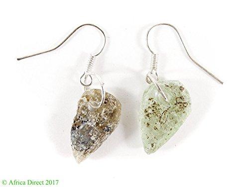 Ancient Roman Glass Earrings Beads Green Afghanistan