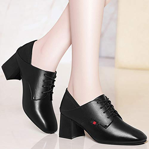 winter autumn shoes shoes ' and White Ladies high heel leather AJUNR Work shoes Women's style shoes heel shoes square qaW4t6P