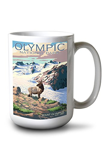 Lantern Press Olympic National Park, Washington - Mt. Olympus and Elk (15oz White Ceramic Mug)