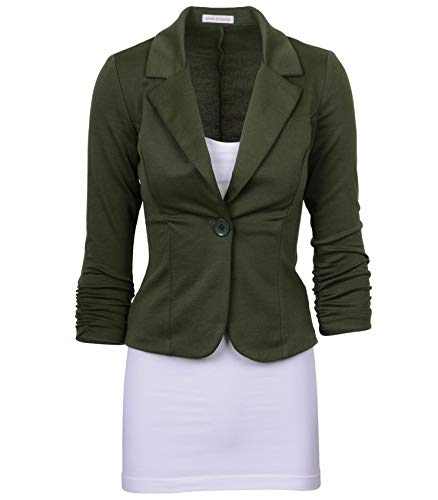 1 Ladies Green - Auliné Collection Women's Casual Work Solid Color Knit Blazer Olive Green 1X