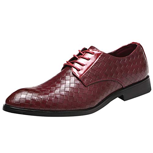 QBQCBB Men's Pointed Shoes England Casual Shoes Business Shoes Casual Comfort Shoes(Red,43) ()