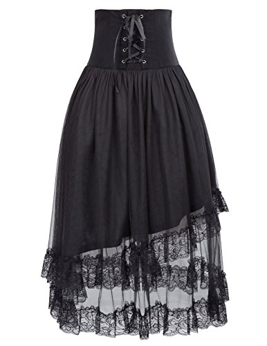 Cotton Tulle Lace Trim (Women's Steampunk Skirt Lolita Corset High Waist Vintage Style Gothic Skirt Black BP503-1 S/M)