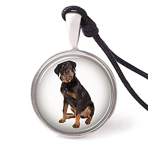 Vietguild's Rottweiler Necklace Pendants Pewter Silver - Rottweiler Jewelry