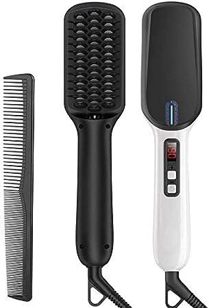 Alisador de Barba Flequillo Multifuncional Peine de Peluquería Plancha de Pelo Eléctrico Profesional para Hombre Mujer (Negro)