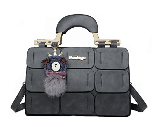 Bag Grey Shoulder Handbags Bag Bag Women New summer Women Inclined Leather Suture Spring Boston O8tqafA