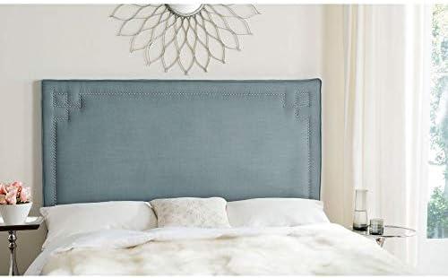 Safavieh Remington Sky Blue Linen Blend Upholstered Greek Key Headboard Queen