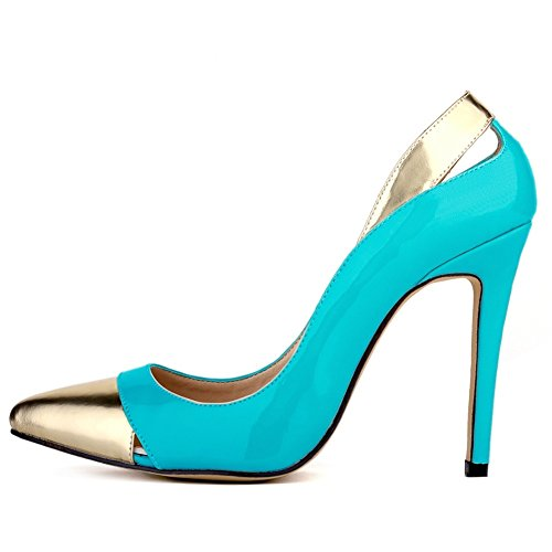 HooH Women's Pointed-toe Contrast Color Hollow Out Stiletto Dress Pump-skyblue-35