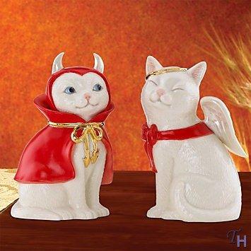 (Cat Angel & Devil Salt & Pepper Shaker Set by Lenox)