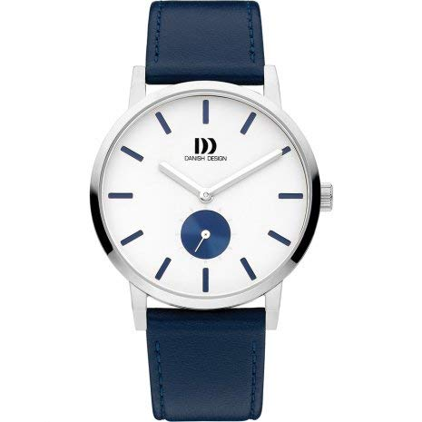 Danish Design Water Resistant Watch | Urban Quartz Watch Movement | Analog Silver + Blue Dial | Wrist Watch for Men ()