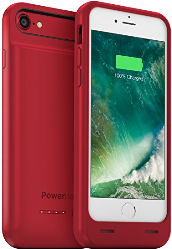 PowerBear iPhone 7 Battery Case / iPhone 8 Battery Case (MFI) [3100mAh] High Capacity Rechargeable Charger Pack for Apple iPhone 7/8 (Up to 160% Extra Battery) - RED [24 Month Warranty]