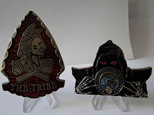 Set of 2 Challenge Coins US Special Operations Command Navy Seal Team VI The Tribe Red Squadron DEVGRU Arrowhead Shaped Challenge Coin & US Cyber Command CYBERCOM Challenge Coin