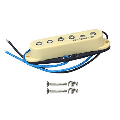 OriPure Single Coil Pickup Alnico 5 Staggered Guitar Strat Pickup Middle Position Bright Solid Sound-Cream Cover