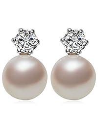 Joyfulshine Womens Vintage 8-9mm Freshwater Cultured Pearl Cubic Zirconia Stud Earrings Sterling Silver Post Color White