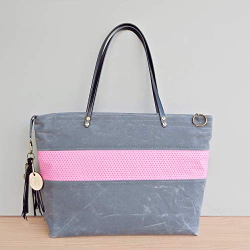 (Handcrafted Zipper Waxed Canvas Tote Bag with a Pink Polka Dot Accent and Leather Straps in Slate Grey, Available in 2 Sizes and 3 Hardware Finishes, USA Made)