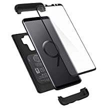 Spigen Funda Galaxy S9 Plus, Thin Fit 360 - Exact Slim Full Cover Protection Case with Tempered Glass Screen Protector for Samsung Galaxy S9 Plus (2018) - Black