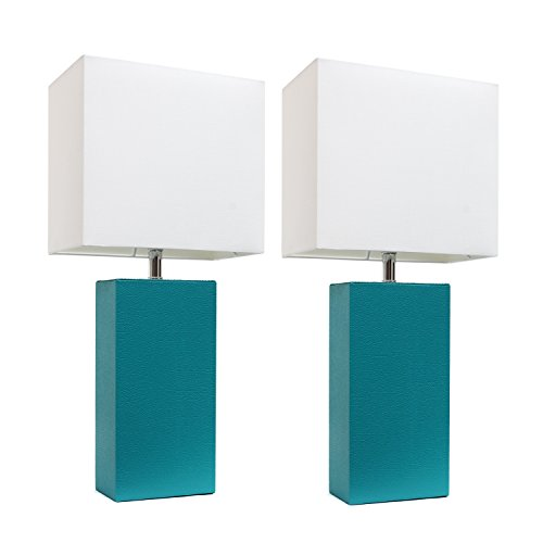 Elegant Designs LC2000-TEL-2PK 2 Pack Leather Lamps 2 Pack Modern Leather Table Lamps with White Fabric Shade, Teal