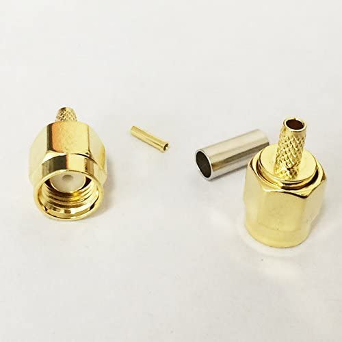 5 PCS Set RP-SMA Male Crimp Plug Straight RF Connector for RG316 RG174 LMR100 with Female Pin