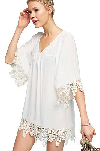 KingsCat Women Stylish V Neck Lace Border Swimsuit Cover Up/Beach Kaftan, White ()