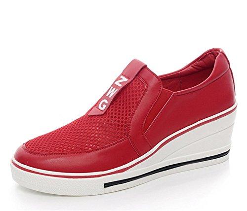 Mujer De Para Cordones Wealsex Malla Cuna Zapatos Grande 43 Tacones Zapatos Talla Zapatos Sin Deporte 41 La De Mujer Cuñas 42 De Zapatos Tacon 4CM Rojo Altos xxRwA