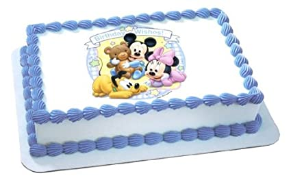 Excellent Disney Babies Mickey Minnie Birthday Wishes Edible Image Cake Funny Birthday Cards Online Inifodamsfinfo