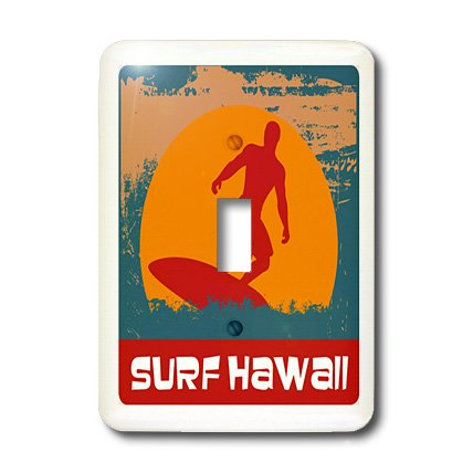 3dRose lsp_119279_1 Vintage Travel Surf Hawaii Single Toggle Switch by 3dRose