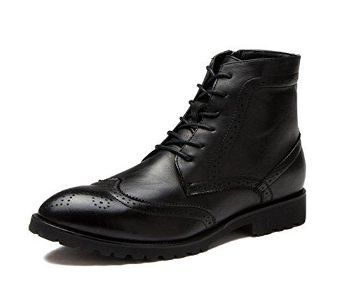 WZG Los nuevos hombres señalaron Bullock zapatos para ayudar a los hombres en las botas casuales de encaje clásico tallado Black