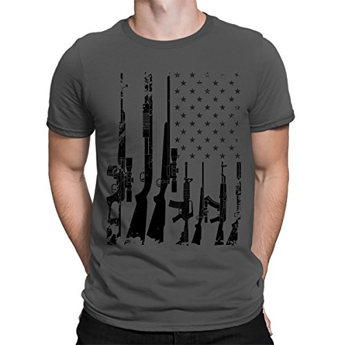 SpiritForged Apparel Distressed USA Gun Flag Men's T-Shirt, Charcoal 2XL