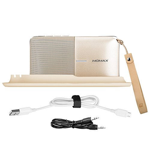 MOMAX 2 in 1 Portable Outdoor Bluetooth Speaker with Microphone and 6000mAh Power Bank with Stand Holder,24 Hours Playtime 2.1A Output Battery Charger Compatible with Bluetooth Devices (Champagne) by MOMAX