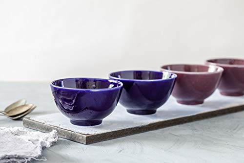 "Blue and Purple Glazed Handmade Natural Clay Ceramic Rice Bowls Set of 4, Modern Design, Dishwasher Safe, Artisan Pottery Housewarming Gift Idea, 4"" Diameter"