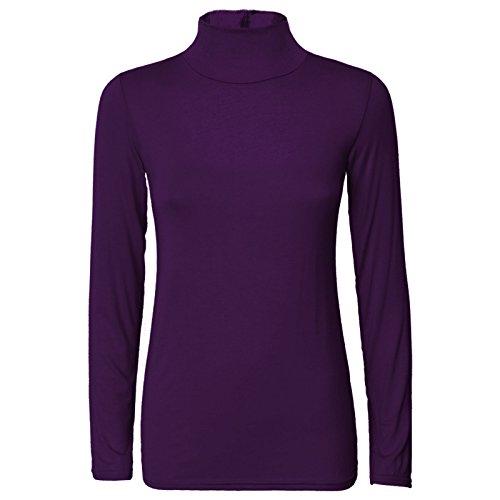Crop col manches longues Femme Shirt et T Top Pourpre roul ROwqxHx7