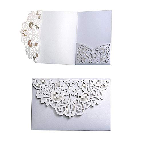 - 10 Pack Wedding Invitations Cards Kit, Hanhan 3 Folds 5x7'' Laser Cut Flora Lace Invitation Cards Cover Holder Pocket for Wedding Bridal Shower Engagement Birthday Graduation Invitation