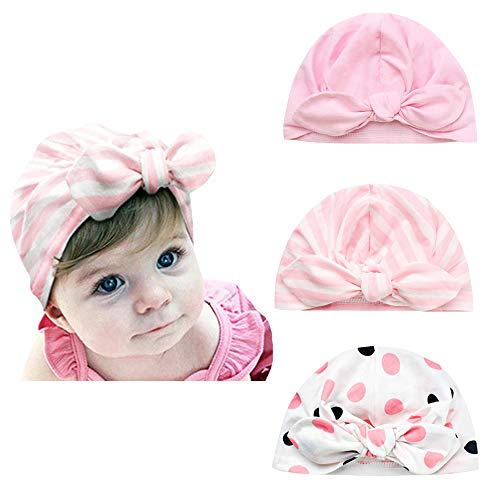 (XIAOHAWANG 3 Pcs Infant Baby Hat Soft Turban Newborn Hospital Hat with Bow Knot Cute Nursery Beanie Stripe (Color E Pack of 3))