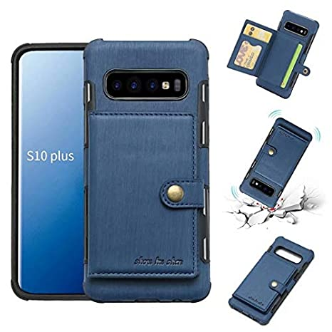 Color : Navy Brushed PU Leather Flip Folio Wallet Case Business Multi-Card Slots Durable Shockproof Protective Cover with Tempered Glass Screen Protector for Samsung Galaxy S10+//S10 Pl L/&Y