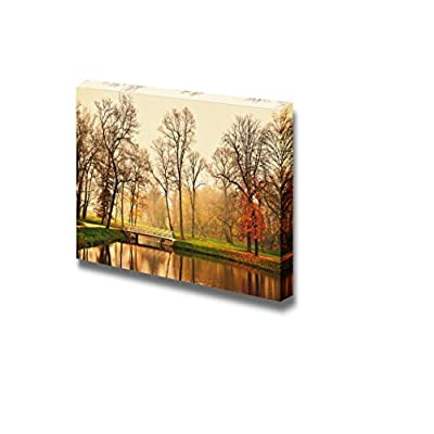 Canvas Prints Wall Art - Beautiful Scenery/Landscape Lake in Autumn Park | Modern Wall Decor/Home Decoration Stretched Gallery Canvas Wrap Giclee Print & Ready to Hang - 24