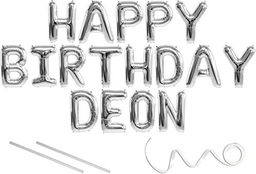 Deon, Happy Birthday Mylar Balloon Banner - Silver - 16 inch Letters. Includes 2 Straws for Inflating, String for Hanging. Air Fill Only- Does Not Float w/Helium. Great Birthday Decoration
