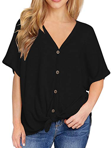 IWOLLENCE Womens Loose Henley Blouse Bat Wing Short Sleeve Button Down T  Shirts Tie Front Knot Tops Black XL 44f9e7333