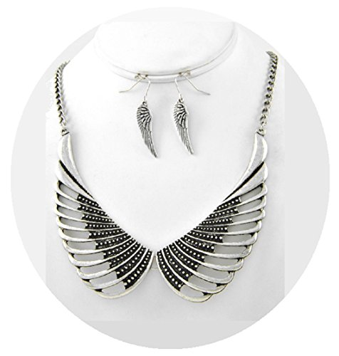 [Large Angel Wing Statement Necklace Silver Fashion Jewelry Boxed (#118)] (Best Hollywood Costumes Designers)