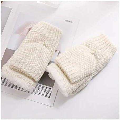 BTXXYJP 冬の暖かいニットウール指なし手袋フリップアウトドア手袋 (Color : 白, Size : One Size)