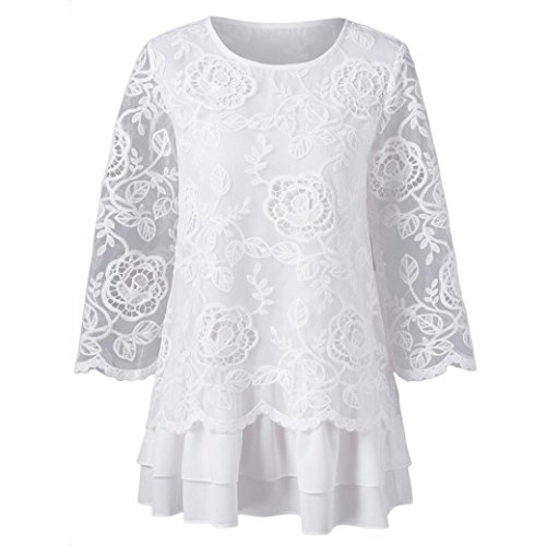 Gallity clearance sale Womens Swxy Lace Tops Round Neck Long Sleeve T-Shirt Tops Blouse (M, White)