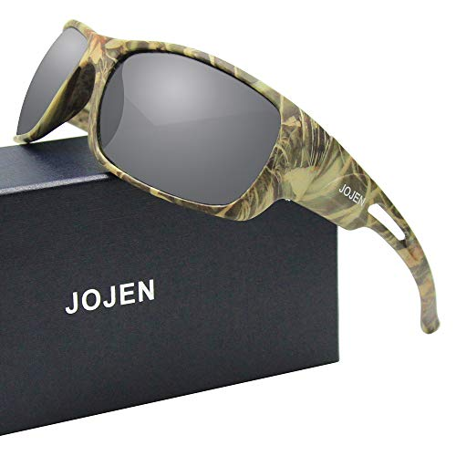JOJEN Polarized Sports Sunglasses for Men Women Running Cycling Fishing Hunting Golf Tr90 Ultralight Unbreakable Frame TAC Lens JE008(Green Camo Frame Mercury Lens) ()