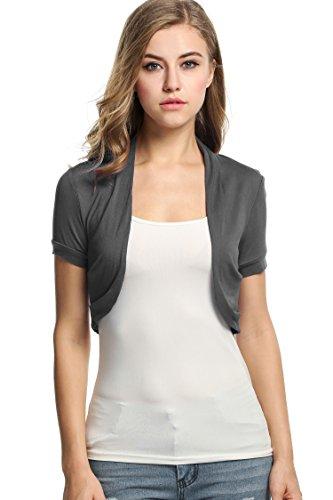 BEAUTYTALK Women Layering Bolero Shrug Jacket Crop Top Shirt(Grey,S)