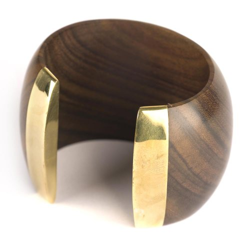 81stgeneration Wood Brass Gold Tone Large Brown Big 55 mm Cuff Bangle Bracelet