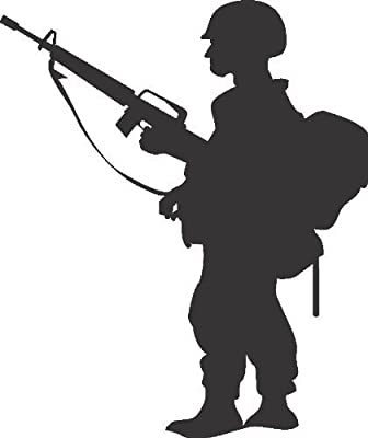 Sideview Silhouette of G.I. Joe Standing Military Soldier in Ready Combat Action Home Decor Bedroom Sticker - Vinyl Wall Decal - Size : 16 Inches X 24 Inches - 22 Colors Available