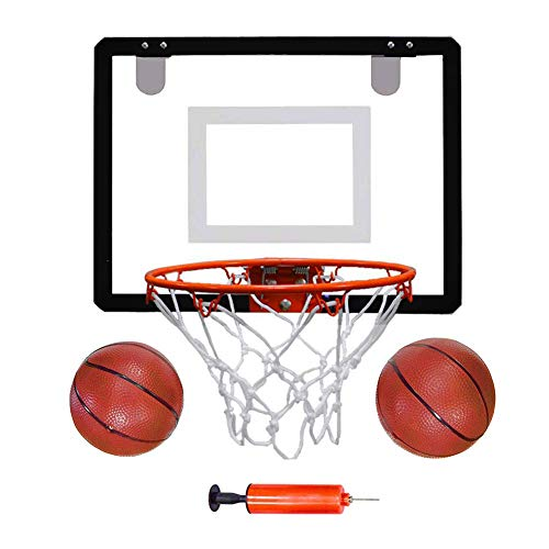 Indoor Mini Basketball Hoop Set 16 X 12 Inch Board Family Game for Kids and Adults Includes 2 Mini Basketballs & Hand Pump with 1 Inflation Needle