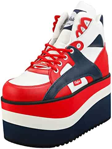 2158c27c71bef Buffalo London Women's 2.0 Rising Towers Sneakers, Pepsi, Red, Blue, 37 M