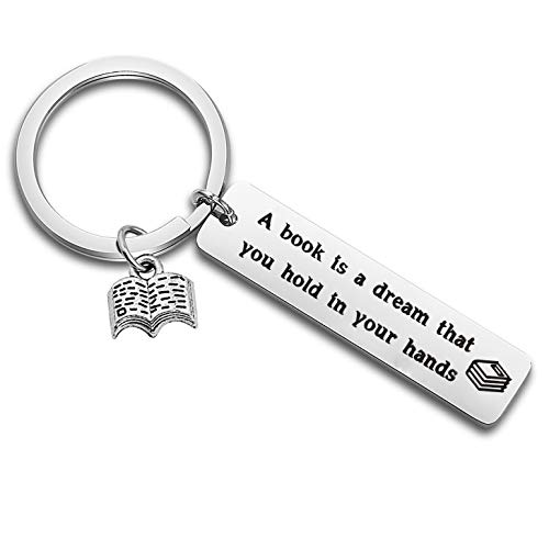 LQRI A Book is A Dream You Hold in Your Hands Keychain Book Lover Book Club Keychain Librarian Gift Bookworm Gift (Silver)