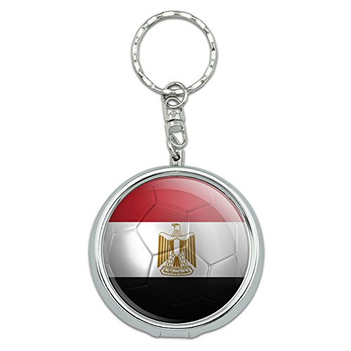 rtable Pocket Purse Ashtray Keychain Soccer Futbol Football Country Flag A-I - Egypt Flag Soccer Ball Futbol ()